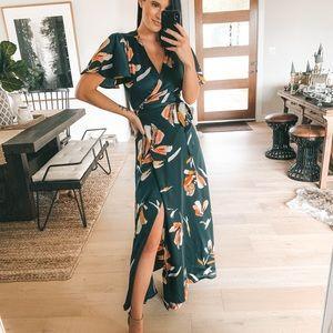 Lovestitch RAQUEL Floral Navy Wrap Maxi Dress